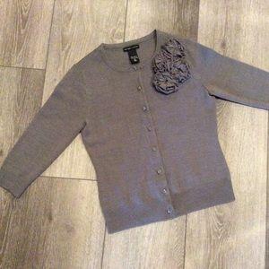 New York & Company Gray Fabric Flower Cardigan
